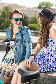 beautiful young people on urban background