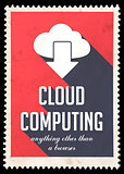 Cloud Computing on Red in Flat Design.