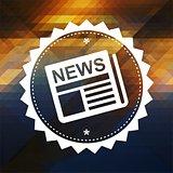 News Concept on Retro Triangle Background.