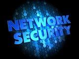 Network Security on Dark Digital Background.
