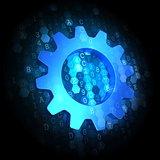 Gear Icon on Dark Digital Background.