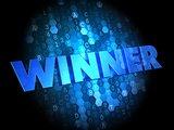 Winner on Dark Digital Background.