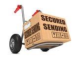 Secured Sending - Cardboard Box on Hand Truck.