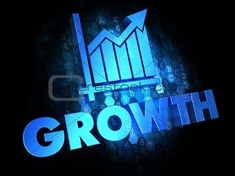 Growth Concept on Dark Digital Background.
