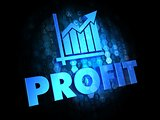 Profit Concept on Dark Digital Background.