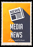 Media News on Yellow in Flat Design.