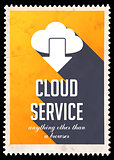 Cloud Service Concept on Yellow in Flat Design.