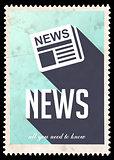 News on Light Blue in Flat Design.