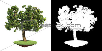 Green Tree with Detail Raster Mask.