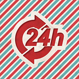 Service 24h Concept on Retro Striped Background.