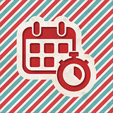 Time Concept on Striped Background.