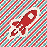 Icon of Go Up Rocket on Striped Background.
