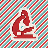 Microscope Icon on Retro Striped Background.