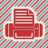 Printer Icon on Striped Background.