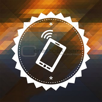 Smartphone Icon on Triangle Background.