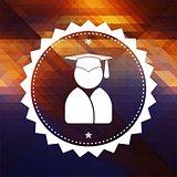 Graduate Icon on Triangle Background.