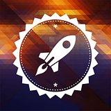 Icon of Go Up Rocket on Triangle Background.