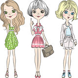 Vector set beautiful cute fashion girl