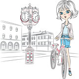 Vector beautiful girl with bicycle