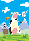 Cow with a milk package and a bucket
