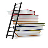 Black ladder and book