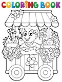 Coloring book flower shop theme 1