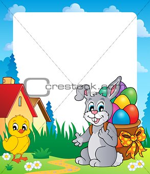 Frame with Easter bunny theme 8