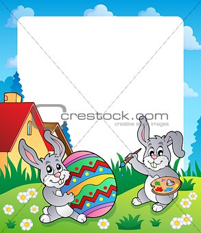 Frame with Easter bunny topic 6