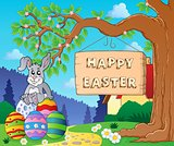 Image with Easter bunny and sign 6