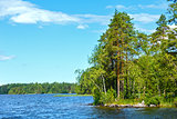 Lake Ruotsalainen summer view (Finland).