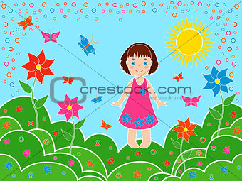Small girl on the meadows in sunny summer day