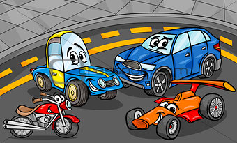cars vehicles group cartoon illustration