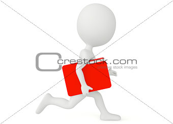 3d humanoid character run with a file folder