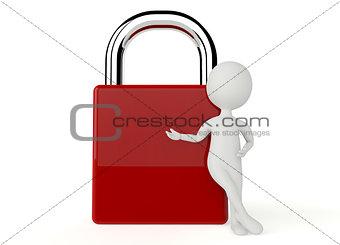 3d humanoid character - padlock