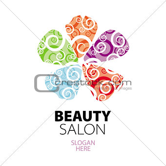 abstract colorful logo of lacy petals
