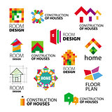 Collection of vector logos construction and repair of buildings
