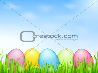 Colored Eggs in Grass