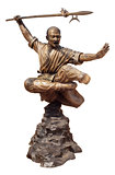 Shaolin warriors monk bronze statue