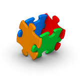 four colorful jigsaw puzzle pieces