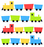 Childish cartoon colorful trains isolated on white