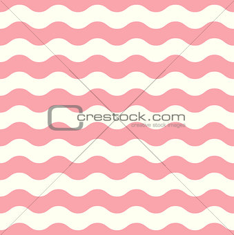 Wave retro seamless pattern - pastel pink and white