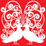 white doves pair kissing pattern with a heart symbol