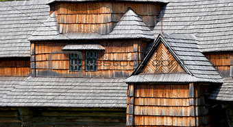 Fragments of facade of the old wooden architecture