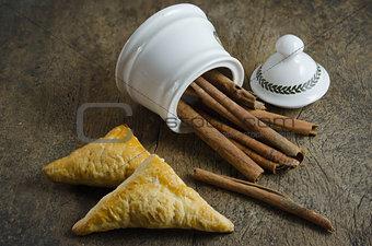 cinnamon sticks and puff pastry