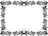 Black and white blank border with floral elements