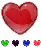 Red,purple,green,pink and blue glass shiny heart
