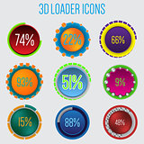 3d loader icon set of 9