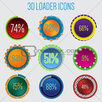 3d loader icon set of 9