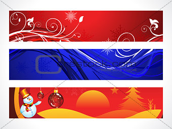 abstract colorful christmas banner set