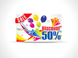 abstract fifty percent discount card
